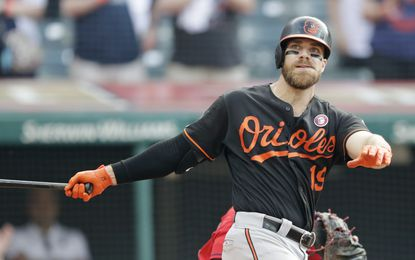 In this May 18, 2019 file photo, Baltimore Orioles' Chris Davis swings for the final out in the ninth inning of a baseball game against the Cleveland Indians in Cleveland. (AP Photo/Tony Dejak, File)