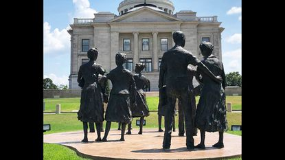 A memorial to nine African-American students who integrated the all-white Central High School in 1957 stands near the Arkansas capitol building in Little Rock.