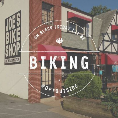 Joe's Bike Shop posted this image to its Facebook page to announce that it will be closed on Black Friday. instead, the store is hosting a mountain bike ride at Loch Raven Reservoir.