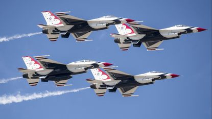 The U.S. Air Force Thunderbirds, pictured above, and the F-35 Joint Strike Fighter highlight the OC Air Show on June 16-17.