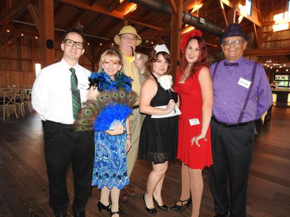 At a Clue party in Lancaster, Pennsyvania the WhoDunnit cast is pictured, from left: Ben Fisler, Wendy Olenik, Bill DeBrason, Lauren Stoltzfus, Jessica Crouse and Leonard Gilbert. Bistro 91 in Finksburg will host a Clue-themed party on Jan. 11 and 12.
