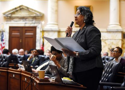 Federal prosecutors are using Cheryl Glenn's words against her as they outline why they think the former Baltimore legislator deserves a three-year prison sentence. In this 2019 photo, the Democratic delegate speaks during the legislative session at the State House in Annapolis.