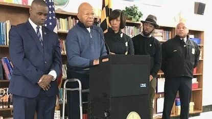 "Rep. Elijah Cummings and Mayor Catherine Pugh speak Saturday, Jan. 19, 2019, at ""Connect,"" an informational and resources-sharing event in Baltimore."