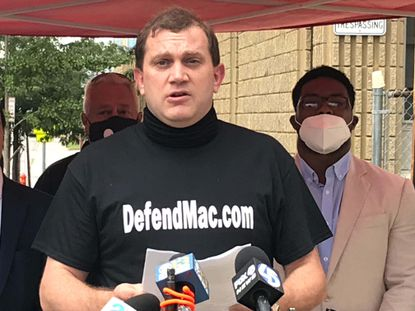 """Arthur """"Mac"""" Love IV, at a Monday afternoon press conference in the 300 block of N Pulaski Street. He was fired by Gov Larry Hogan's administration for social media posting. August 31, 2020"""