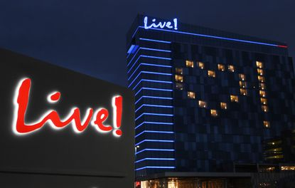 LIVE! Casino & Hotel lights some of its rooms in the shape of a heart to show support for health care professionals, first responders and front-line workers on April 28, 2020, for their efforts during the COVID-19 pandemic.