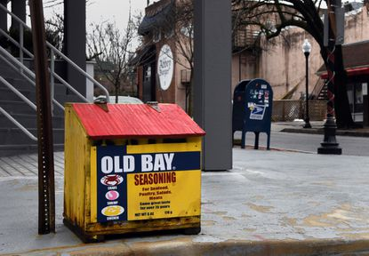 """This box painted to resemble local favorite Old Bay seasoning may make passersby yearn for summertime feasts of crabs drenched in the signature spice mix. """"That's the only salt box where I painted the actual lid instead of decorating a yellow plywood panel that attaches to the front of the box,"""" Ames said. """"I was painting the lid bright red while people were passing by, and no one questioned what I was doing."""""""
