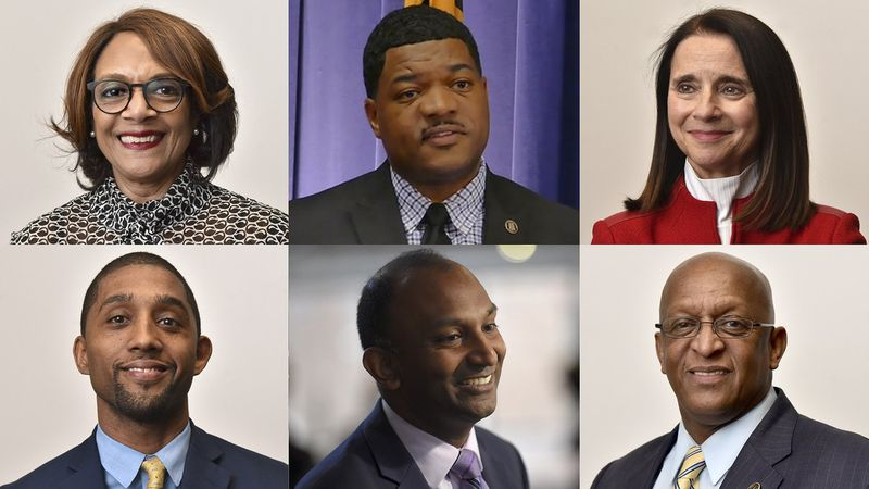 Baltimore 2020 mayor candidates, (top, left to right) Sheila Dixon, TJ Smith, Mary Miller, (bottom, left to right) Brandon Scott, Thiru Vignarajah and Jack Young.