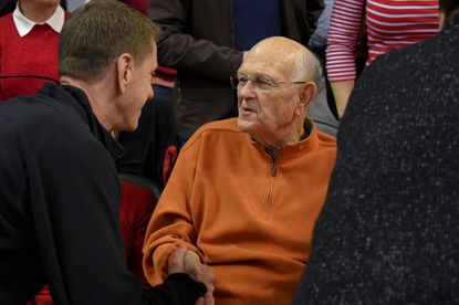 Maryland Terpsretired basketball coach Lefty Driesell greets people who want to talk with him during the first half in College Park on Feb. 6, 2016.