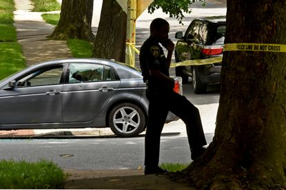 The westbound lanes of Gwynns Falls Parkway at Allendale Road, and the 2300 block of Allendale Road were closed to traffic Thursday afternoon as police investigated a shooting that left one man injured, an Acura sedan with a window shot out, and bloodied clothing strewn on the steps of a rowhouse in the middle of Allendale Road.