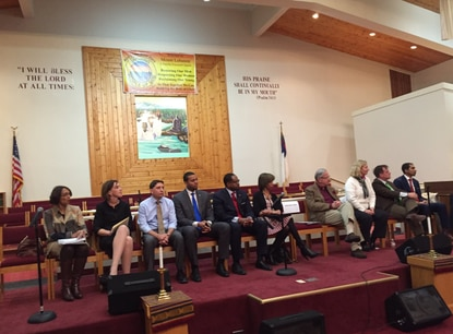 Panel of Baltimore mayoral candidates at a forum.