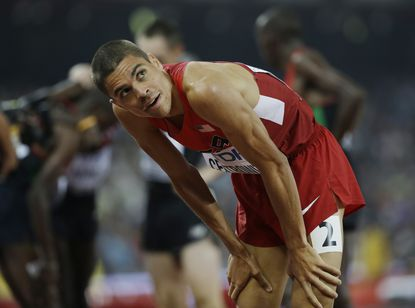 Matthew Centrowitz looks at the results from the men's 1,500-meter final. The Broadneck graduate finished eighth.