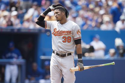 Jimmy Paredes reacts after striking out during the fourth inning.