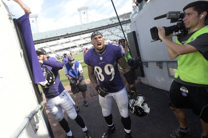 Ravens wide receiver Steve Smith Sr. celebrates while walking to the locker room after the win Sunday over the Jaguars.