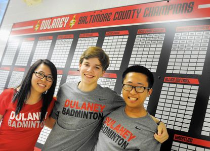 Dulaney High badminton players, from left, Ivy Li, Will Paranzino and Hojin Yoon, all won medals in the Baltimore County individual tournament. The junior co-captain the Lions.
