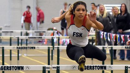 Francis Scott Key's Sarah Pernell won the 55-meter hurdles at the 2017 Carroll County Indoor Championships in Hagerstown on Jan. 28, 2017.