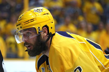 Mike Fisher looks on during a playoff game on June 11, 2017.
