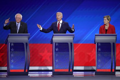 Democratic presidential candidate Sen. Bernie Sanders (I-VT), former Vice President Joe Biden, and Sen. Elizabeth Warren (D-MA) debate on stage during the Democratic Presidential Debate at Texas Southern University on Sept. 12, 2019.