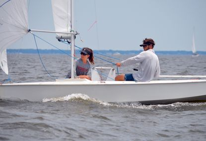 Former collegiate sailors Carter Cameron (College of Charleston) and Elena VandenBerg (Stanford) teamed to place fourth in the Snipe Colonial Cup. (Photo courtesy of Jill Bennett).