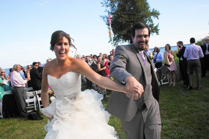 Sarah Schaffer and Eric Hutchins got married at the Gibson Island Club on Gibson Island