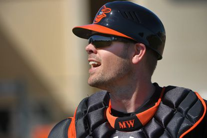 Orioles catcher Matt Wieters at the batting cage during spring training at the Ed Smith Stadium complexonFeb. 26, 2016.