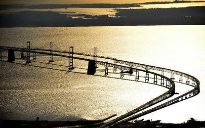"""Bay Bridge from the air. Annual """"barometer"""" finds the estuary still impaired but improving in a number of respects."""