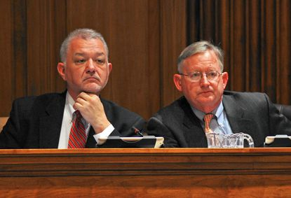 State Sen. David Brinkley, left, and state Sen. Joseph Getty, listen during the Joint Republican Caucus' annual pre-session briefing in Annapolis last January.