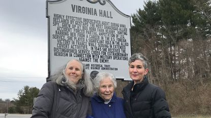 From right, Lisa Kraus of the State Highway Administration, Virginia Hall's niece Lorna Catling, and great-niece Linda Catling, at the dedication Saturday of a historical marker along York Road for Hall, a Baltimore native and WWII-era spy.