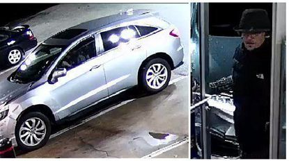 Images from surveillance footage of the suspect in two armed robbery cases.