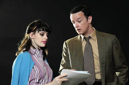 """Kelsey Lake as Betty Schaefer and Tom Burns as Joe Gillis in Cockpit In Court Summer Theatre's production of """"Sunset Boulevard."""""""
