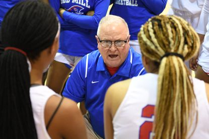 Old Mill girls basketball head coach Rick Smith, pictured here in a game earlier this season, said the Patriots' press defense and rebounding were keys to his team's 52-42 win over River Hill on Wednesday, Dec. 18, 2019.