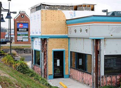 The building that formerly housed Marlin and Ray's in the Bel Air Plaza is now under construction and will be an IHOP, International House of Pancakes. A building permit has been issued for the renovation.