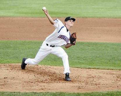The IronBirds' Sebastian Vader pitches against the Brooklyn Cyclones during Sunday's game at Ripken Stadium in Aberdeen.