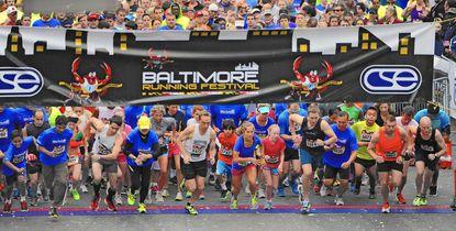 The start of 13th Annual Baltimore Running Festival 5K run.