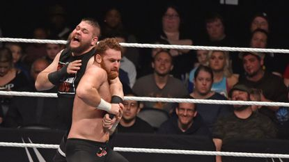 Universal Champion Kevin Owens wrestles Sami Zayn during WWE Live Road to WrestleMania at PPL Center in Allentownon Saturday, March 18, 2017.
