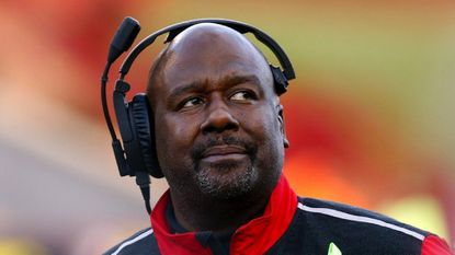 Mike Locksley watches from the sideline during a game against Indiana as Maryland interim coach during the the 2015 season.