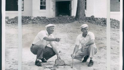 Jimmy Flattery and Babe Rafferty looking over site of the new first tee at Forest Park in 1956.