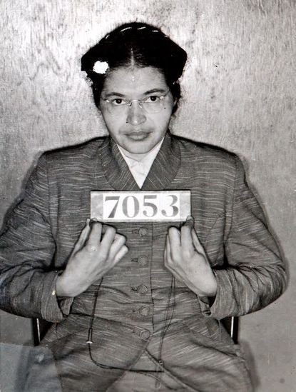 A Montgomery (Ala.) Sheriff's Department booking photo of Rosa Parks taken Feb 22, 1956, is shown Friday, July 23, 2004, in Montgomery, Ala. Dozens of photographs from the civil rights-era were recently discovered in a storage room used by the Montgomery County Sheriff's office. Chief Deputy Derrick Cunningham said he was performing some house cleaning duties when he found a photo-album containing well-preserved mug shots of protesters, including Parks and The Rev. Martin Luther King Jr. who were arrested during the Montgomery bus boycott in 1956. (AP Photo/Montgomery County (Ala.) Sheriff's office)