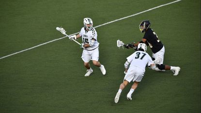 The second midfield for the No. 8 Loyola Maryland men's lacrosse team, composed of junior P.J. Brown, left, and sophomores Peter Swindell (37) and Riley Cox, not pictured, enjoyed it best outing against Army West Point a week ago, according to Charley Toomey.