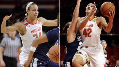 At left, Maryland freshman wing Stephanie Jones defends against Saint Peter's on Thursday. At right, her sister, senior center Brionna Jones, drives inside against Saint Peter's.