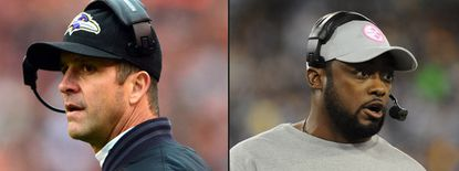 Ravens coach John Harbaugh (left) and Steelers coach Mike Tomlin have each found success early in their careers as head coaches.