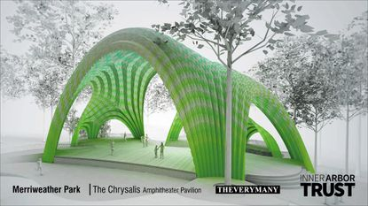 The Chrysalsis, an outdoor concert venue, will be the first project constructed in the Inner Arbor Plan, which could begin construction early next year.
