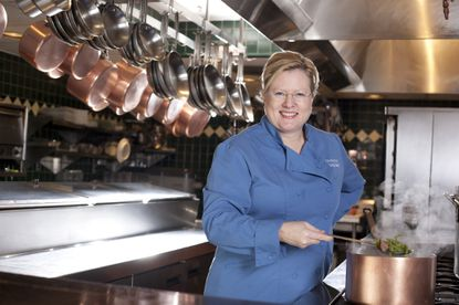 Photographed in her home, Cindy Wolf is a finalist for the 2014 James Beard Foundation awards for Best Chef: Mid-Atlantic.