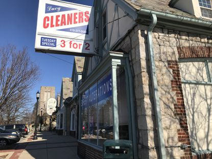 A dry cleaner is one of the last remaining tenants of a York Road shopping center following the departure of Uncle Wiggly's and the Lily Pad.