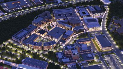 A bird's eye rendering of the planned Carillon development by Retail Properties of America in Largo. The massive Prince George's County project will be adjacent to the new University of Maryland Capital Region Medical Center, which is under construction. - Original Credit: For The Baltimore Sun