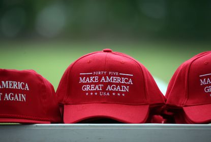 "<p>President Donald Trump ""Make America Great Again"" hats for sale during a Governor's Day rally on Aug. 16, 2017 at the Illinois State Fair in Springfield.</p>"