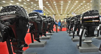 Almars Outboards from New Castle, DE display several boat motors at the Baltimore Boat Show, produced by the NMMA (National Marine Manufacturers Association).