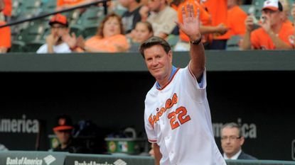 Baltimore Orioles' Jim Palmer during pre game ceremonies at Oriole Park at Camden Yards, commemorating the 50th anniversary of the 1966 World Series championship team.