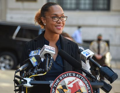 Baltimore City State's Attorney Marilyn Mosby holds a press conference outside the courthouse in downtown Baltimore on Friday, March 26, 2021.