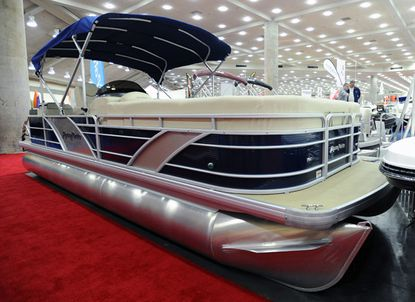 A pontoon boat at the Baltimore Boat Show at the Baltimore Convention Center earlier this week.