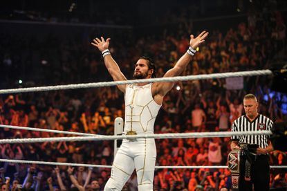 Seth Rollins enters the ring at the WWE SummerSlam 2015 at Barclays Center of Brooklyn on August 23 in New York City. Sting ambushed Rollins during RAW on Aug. 24.